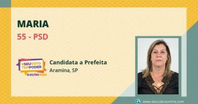 Maria, do PSD, é eleita prefeita de Aramina